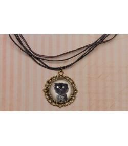 Vintage ogrlica sa fotografijom mačke